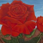 Blutrote Rose Splinters, Acryl Leinw, 114x146cm