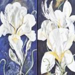 Iris+fairy Tail, White Iris & dancing couple, Acryl Leinw, je 80x30cm